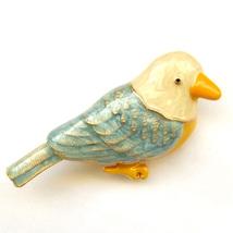 Brooch Seagull Blue White Cute Bird Yellow Beak Beach Nautical Lovely Suit Pin - $8.99