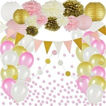 Pink and Gold Party Decorations 50 pc Pink Party Supplies Paper Pom Poms... - £25.46 GBP