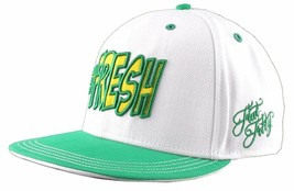 Flat Fitty Hashtag Fresh Wiz Khalifa Green White Snapback Baseball Hat Cap NWT image 2