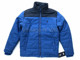 US Polo Assn Men S Blue/ Black Colorblock Embroidered Logo Quilted Puffe... - $56.99
