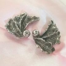 Vintage Silver Tone Leaf Design Clip On Earrings - $9.00