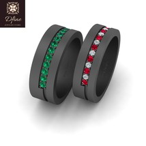 Joker and Harley Quinn Inspired Matching Rings For Couple's 925 Sterling Silver - $259.99