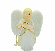 Angel ornament Christmas holiday tree figurine porcelain gold vtg lenox Halo mcm - $23.17