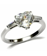 Women's Stainless Steel High polished CZ Clear 2.40(g) Engagement Ring - $14.88