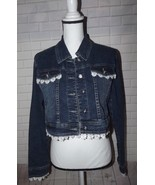 Women's Denim Jacket Size Small Lace Trimmed Medium Blue Wash Silver But... - $38.69