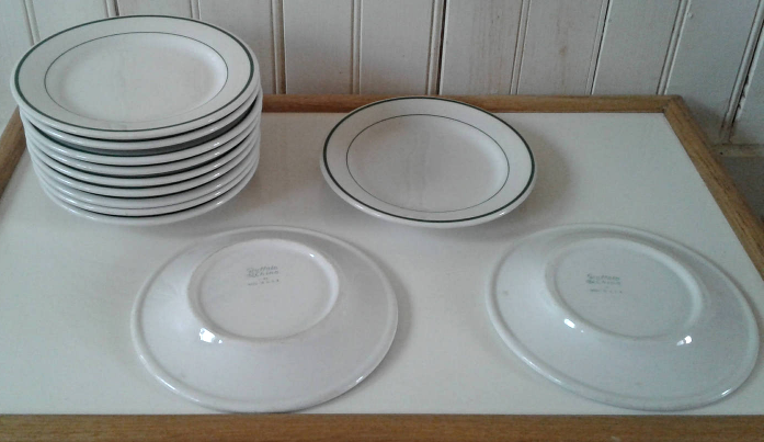 Buffalo China Green Stripe Set of Four (4) Dessert Plates - $24.75 & Buffalo China Plates: 4 listings