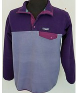 Patagonia Synchilla Snap T Pullover Purple Fleece Long Sleeve Jacket Size M - $71.27