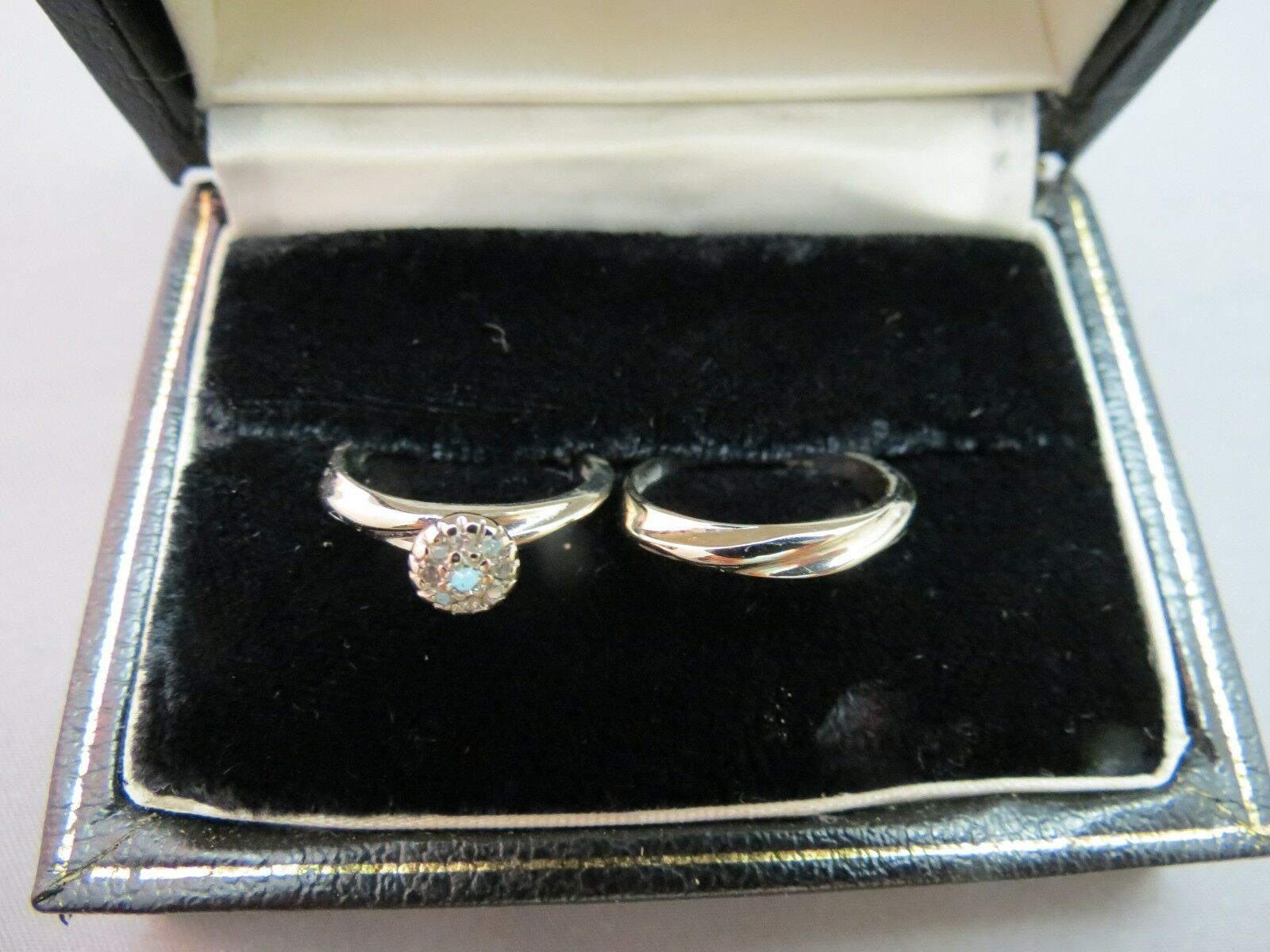 10k White Gold Diamond Wedding Rings Set Bridal Cluster 4.3g SZ 6 Fire-Lite VTG