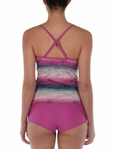 Bench UK Womens Mauve Pink Striped Paperweave 2 Piece Tankika Tankini Swim Wear image 2