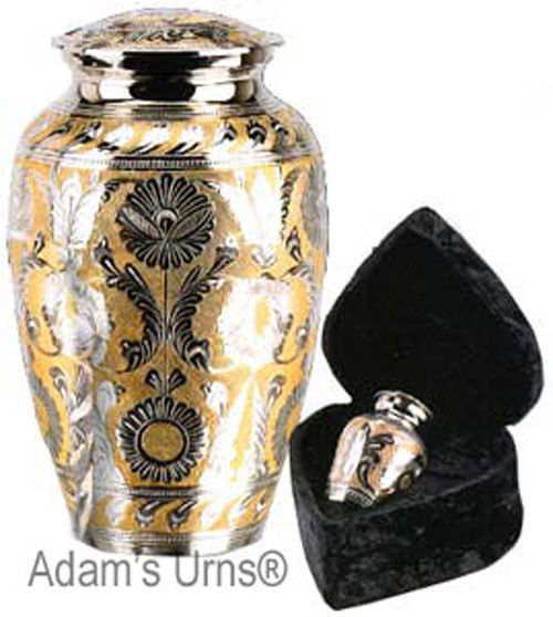 """Silver and Gold Colored Brass Funeral Cremation Urn w. Box, 7"""" Child/Pet Size image 4"""