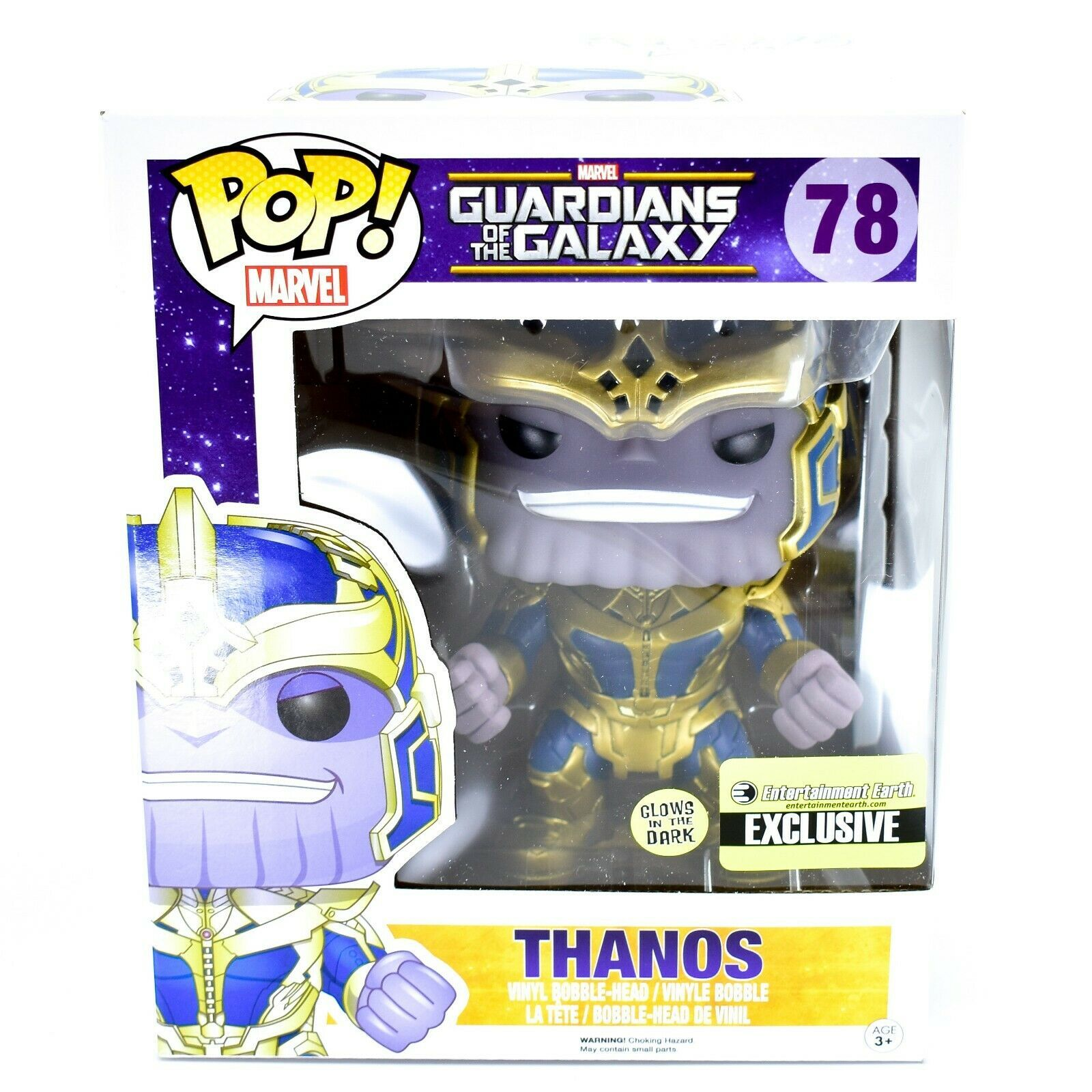 "Funko Pop! Marvel Thanos 6"" Entertainment Earth Glow in Dark Exclusive Figure"