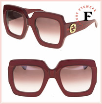 GUCCI GG0178S Red Raspberry Oversized Square Chunky Gradient Sunglasses ... - $311.85