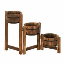 Rustic Apple Barrel Wood Ladder Planter Stand - $74.88