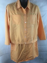 Denim & Co Shirt & Skirt Outfit Orange PEach SZ Large Pull On Skirt/Jacket - $21.73