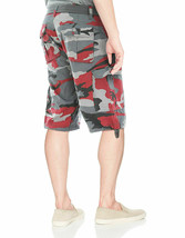 Men's Military Army Cotton Twill Red Camo Cargo Shorts With Belt w/ Defect - 36 image 2