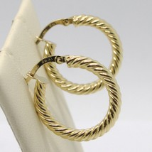 18K YELLOW GOLD CIRCLE HOOPS TUBE TWISTED STRIPED EARRINGS 23 MM x 3 MM, ITALY image 2
