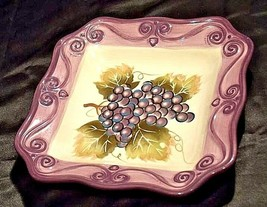 MERLOT Hand Painted Ceramic Grape Serving Dish Square AA18-1253 Vintage image 2