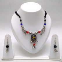 Set Thread String Necklace Earring Jhumki Silver Oxidized Jewelry Tribal... - $7.91