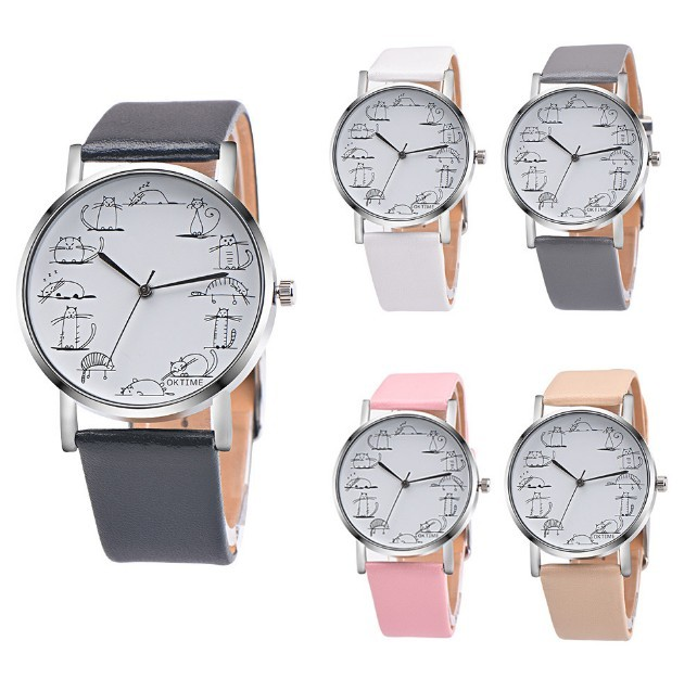 Round Lovely Cartoon Cat Watches Leather Strap Women Casual Wristwatch