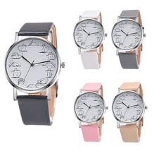 Round Lovely Cartoon Cat Watches Leather Strap Women Casual Wristwatch image 1