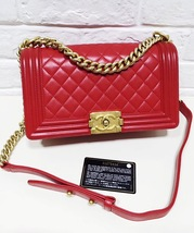 100% AUTHENTIC CHANEL RED QUILTED LAMBSKIN MEDIUM BOY FLAP BAG GHW image 9