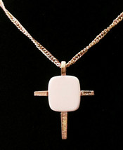 Vtg Signed Crown Trifari Gold Tone & White Lucite Cross Necklace w Partial Tag - $129.99