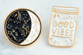 Good Vibes Enamel Pin Constellation Pins and Brooches Moon Phase - $9.99