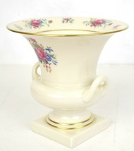 Lenox Footed Vase Urn Gold Trim Flowers Roses Green Mark USA 2155 J300 - $49.50