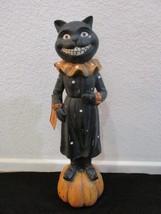 Halloween Spooked Primitive Vintage Style Statue Figurine Black Cat Deco... - $32.99