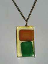 CHICLETS CHEWING GUM NECKLACE Vintage ACRYLIC PENDANT on CHAIN - $14.24