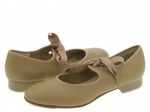 Award TS110 Toddler Size 8.5M Tan Citation Ribbon Tie Tap Shoe