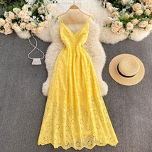 New yellow cotton lace V neck spaghetti strap long women maxi summer dress - $48.00