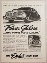 1940 Print Ad The 1941 Dodge Luxury Liner 4-Door Car Power Galore - $13.35