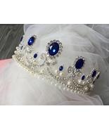 Victorian blue crown, wedding hair tiara, crystals headpiece, wedding he... - $38.88