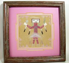 Pair Navajo YEI Sand Paintings Framed Matt Whirling Female Signed Yazzie... - $64.30