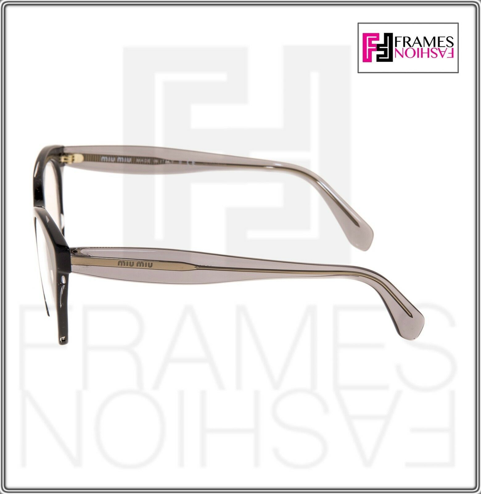 MIU MIU RASOIR MU03QV Eyeglasses Optical Frame Black Grey Translucent 51mm 03Q image 2