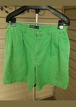 Polo Ralph Lauren Green Pleated- Front Tyler Shorts Size 32 Cotton  ( 35) - $10.00