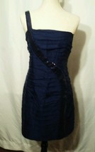 Abs collection navy 100% silk sequin one shoulder cocktail dress size 12 - $25.00