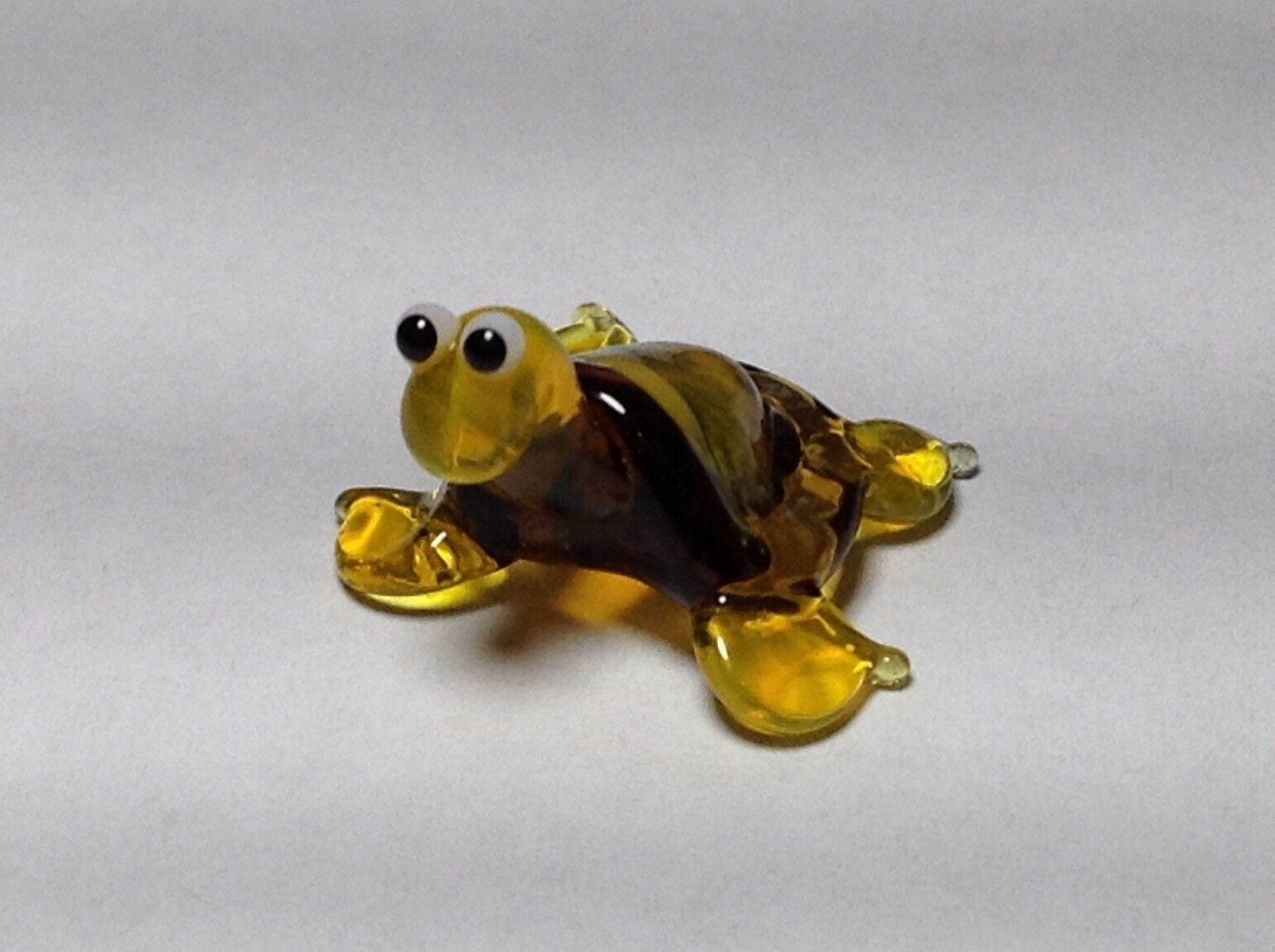 Miniature Glass yellow and golden turtle Handmade Blown Glass Made USA