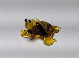Miniature Glass yellow and golden turtle Handmade Blown Glass Made USA