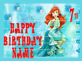 LITTLE MERMAID: Personalized edible image cake topper 1/4 sheet - $9.78+