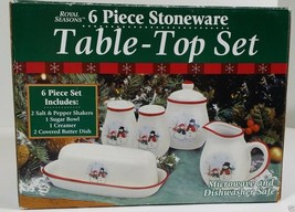 Royal Seasons Christmas Snowman Salt Pepper Sugar Creamer Butter 6pc RN3 - $49.99