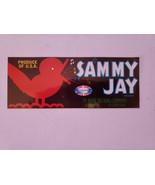 Vintage  Crate Label Florida 1930S Strip Sammy Jay Song Bird Seville Flo... - $7.25