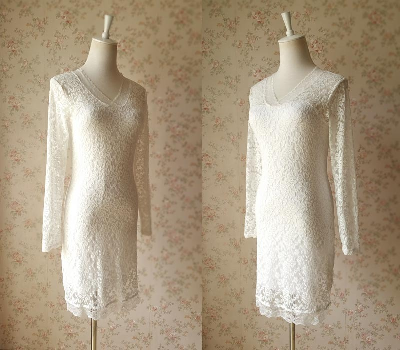 Ivory White Lace Dress Long Sleeve Lace Dress Lace Formal Dress Wedding Dresses