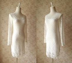 Ivory White Long Sleeve Lace Dress Sweet Heart Lace Formal MIDI Dress Wedding  image 4