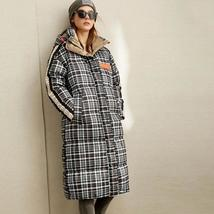 Sizes 2-8  New Trendy European Style 80 White Duck Down Long Quilted Plaid Coat