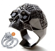 14k Black Gold Plated Black Diamond Men's Punk Skull Biker Ring with Free Gift - $145.33