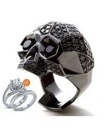 14k Black Gold Plated Black Diamond Men's Punk Skull Biker Ring with Fre... - $119.17