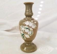 Antique Victorian Clambroth Bristol Glass Vase Enamel Flowers - $52.20