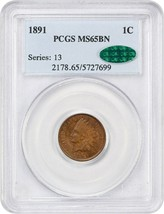 1891 1c PCGS/CAC MS65 BN - Indian Cent - $266.75